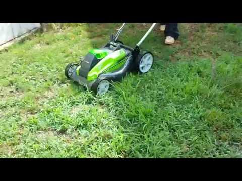 GREENWORKS ELECTRIC LAWN MOWER UNBOXING REVIEW